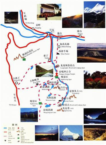 Map of Yading Scenic Area