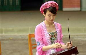 A Jing Girl Was Playing Instrument