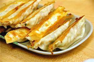 A Typical Dish Potstickers with Prawns and Cilantro