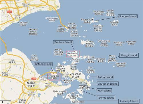 Zhoushan Annotated Google Map