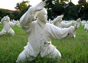 figure in stone practicing Taiji Quan
