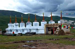 Eight Pagodas in North Tibet Pasture
