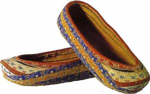 Woven shoes in silk and flax with Chinese characters, Eastern Jin Dynasty.