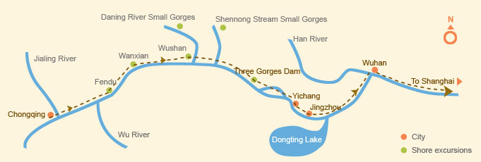 Downstream: Chongqing > Shanghai (7 days)