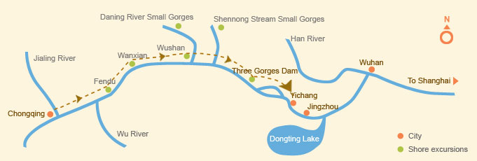 Downstream: Chongqing > Yichang (4 days)