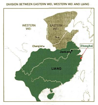 The Wei and Liang (in green) Dynasties of the Northern and Southern Dynasties Period