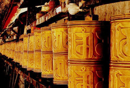 Explore Tibet behind these prayer wheels