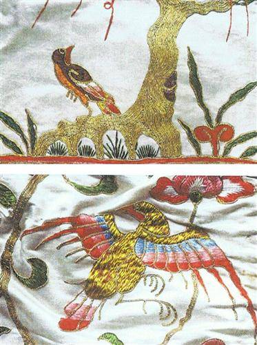 Dragons and birds are common themes in Chinese embroidery